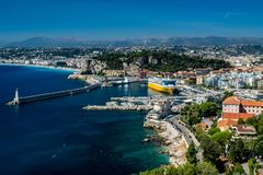 View over Nice harbour and bay with gorgeous blue skies stock photography