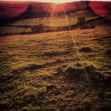 View over North Downs, Kent. Image of British summer sunset in Kent, England Stock Photography