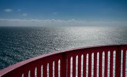 View over the ocean with handrail Royalty Free Stock Photo