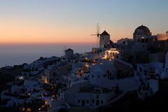 View over Oia at dusk, Greece Royalty Free Stock Image