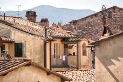 View over old buildings with Terracotta tiled roofs Royalty Free Stock Photo