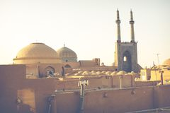 View over the Old City of Yazd, Iran and Masjed-i Jame` mosque -. Famous for its wind towers Stock Photos
