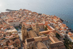 A view over old town of Cefalo in the evening light royalty free stock image