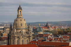 A view over old town of Dresden Frauenkirche - Our Lady church Royalty Free Stock Photo