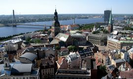 A view over the Old Town of Riga, Latvia. Riga, Latvia's capital, is set on the Baltic Sea at the mouth of the River Daugava. It`s considered a cultural center Stock Photos