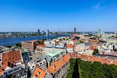 Old Town Riga, Latvia. View over the old town of Riga, Latvia, to the Daugava river. Shot from the bell tower of St. Peter royalty free stock image