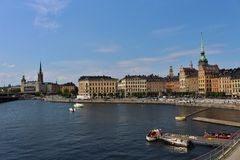 View over Old Town. On the walk way at Slussen in Stockholm Stock Images