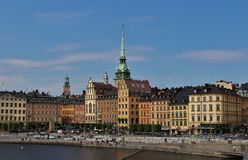 View over Old Town. On the walk way at Slussen in Stockholm Stock Image