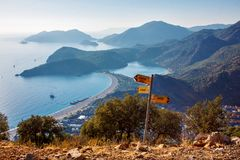 A view over Oludeniz bay on the Mediterranean coast of Turkey. A view over Oludeniz bay  on the Mediterranean coast of Turkey. In the foreground there is a Stock Photography