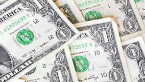 View over one dollar bills. Close up stock footage