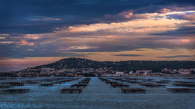 View over oyster tables in Etang de Thau Bouzigues France stock photo