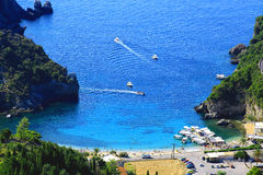 View over Paleokastritsa on corfu island Royalty Free Stock Image