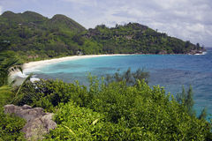 View over palm trees to Anse Intendance, Mahe`, Seychelles Stock Images