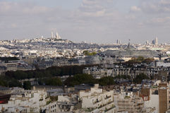 View over Paris. View from Eiffel Tower looking towards the famous Sacre Coeur church and the Grand Palais Stock Images
