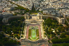 View over Paris. View from the top of Eiffel tower. About 300 meter above the ground royalty free stock photos