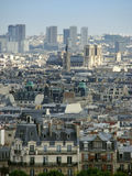 View over Paris. Aerial view over Paris skyline, France, with old and new buildings and Notre-Dame cathedral in the distance Royalty Free Stock Images