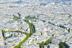 View over Paris from above to Triumphal arch and Elysian Fields / champs Elysees stock photography