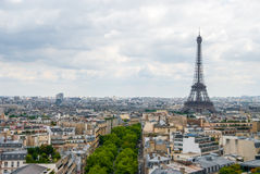 View over Paris Eiffel Tower cloudy sky city center Stock Photo