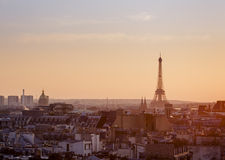 View over Paris with Eiffel Tower at sunset. Panoramic view over Paris with Eiffel Tower and clear sky from Pompidou center at sunset Royalty Free Stock Images
