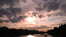 View over Paris, France, Eiffel Tower, Seine. Sunset over Paris, France, over the Eiffel Tower and River Seine Stock Images