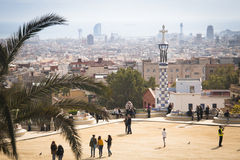 View over parque Guell in Barcelona, Spain Royalty Free Stock Image