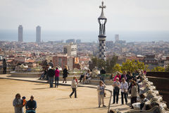 View over parque Guell in Barcelona, Spain Royalty Free Stock Photo
