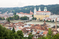 View over Passau and the River Inn Stock Photography