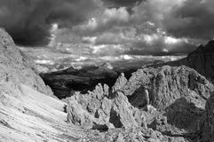 View over Passo Gardena, Dolomiti Royalty Free Stock Photos