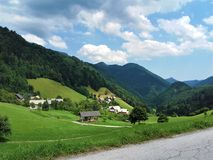 View over peaceful Zgornja Sporica. View over the peaceful village of Zgornja Sporica, Slovenia stock image