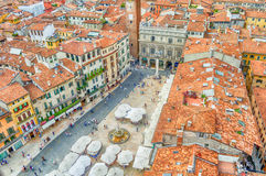 View over Piazza delle Erbe (Market's square), Verona Royalty Free Stock Photography