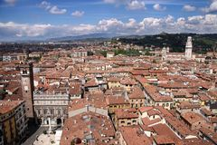 View over the Piazza delle Erbe in Verona Royalty Free Stock Image