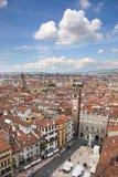 View over the Piazza delle Erbe in Verona Stock Photo