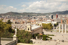 View over Placa de Espana in Barcelona, Spain Royalty Free Stock Images