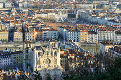 View over Place Bellecour, Lyon, France.  Royalty Free Stock Images