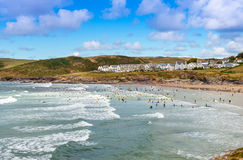 View over Polzeath Beach Royalty Free Stock Images