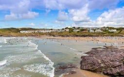 View over Polzeath Beach Stock Photos