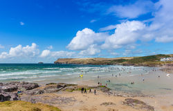View over Polzeath Beach Stock Images