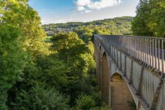 Pontcysyllte Aqueduct, Wales, UK. View over the Pontcysyllte Aqueduct near Trefor in Wrexham, Wales, UK stock images