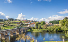 View over Ponte da Barca and the medieval bridge. In Portugal royalty free stock image