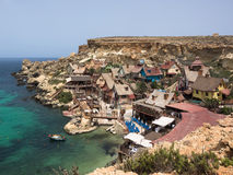 View over Popeye village, Malta. Popeye Village in Malta. Shooting location of Robert Altman's movie Stock Photo