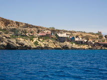 View over Popeye village, Malta. Popeye Village in Malta. Shooting location of Robert Altman's movie Royalty Free Stock Image
