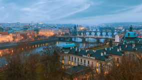 View over Prague river and bridges Royalty Free Stock Photo
