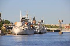View over Pregolya river, Kaliningrad. Museum ships docked in Kaliningrad Stock Images
