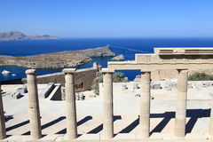 View over Propylaea of Lindos Acropolis Stock Image