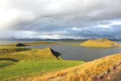 View over pseudo craters. Panoramic view of the pseudo craters around Myvatn lake, Iceland Stock Photos