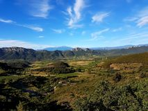 View over the Pyrenees from the Quéribus castle. View over the Pyrenees, France, from one of the Cathar castles Stock Image