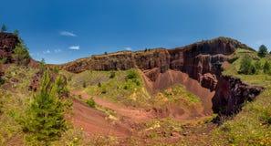 View over Racos extinct volcano in Brasov county Romania. Touristic landmarks stock photos