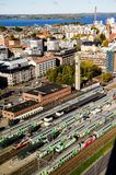 A view over the railway station from Tampere, Finland Royalty Free Stock Images