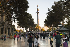 View over the Ramblas in Barcelona, Spain Stock Image