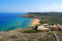 View over Ramla Bay from the Calypso's Cave. Royalty Free Stock Photos
